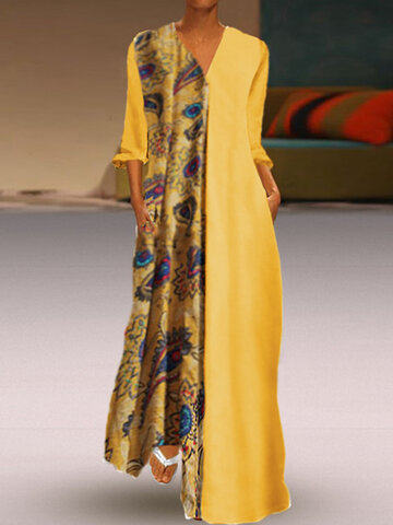 Print Maxi 3/4 Sleeve Dress