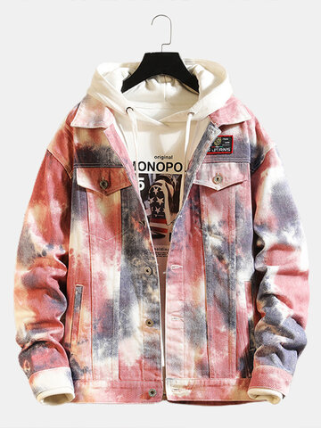 Tie-Dye Print Cargo Denim Jacket