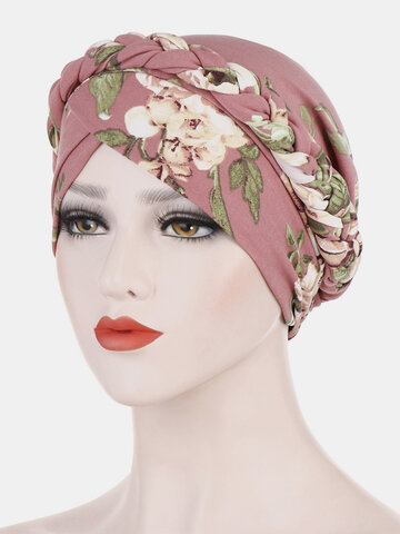 Women Print Countryside Floral Twist Beanie Cap Turban Chemotherapy Cap