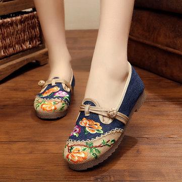 Folkways - Blumen Bestickte Flache Schuhe aus Baumwolle
