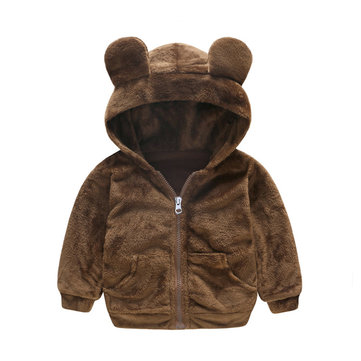 Soft Fleece Boys Girls Coats For 1Y-5Y