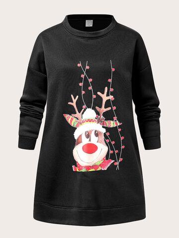 Christmas Cartoon Elk Print Sweatshirt