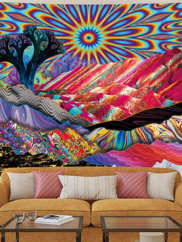 Psychedelic Mountain Sun Tapestry Abstract Trees Tapestry Colorful Nature Landscape Tapestry Bohemia