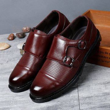 Men Leather Non-slip Double Monk Shoes