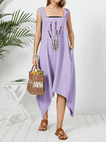 Floral Embroidery Pocket Sleeveless Dress