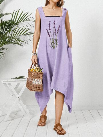 Blumenstickerei Tasche ärmellos Kleid