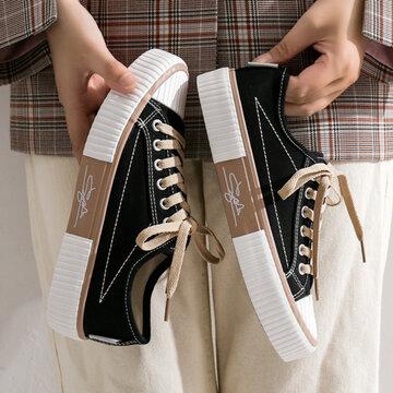 Lace Up Low Top Casaul Canvas Flat Shoes