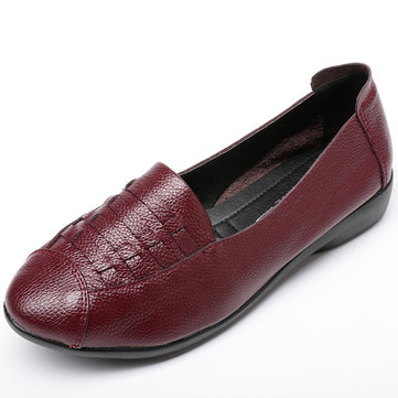 Soild Color Soft Sole Slip On Flat Loafers, Red black gray
