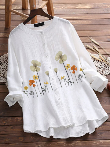 Floral Printed Stand Collar Shirt