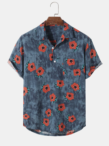 100% Baumwolle Floral Golf Shirt