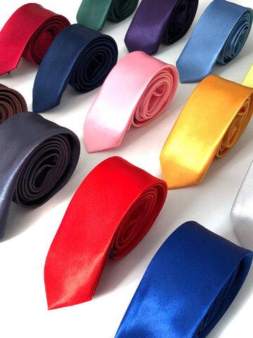 5 * 145CM ठोस रंग टाई आकस्मिक पॉलिएस्टर रेशम टाई