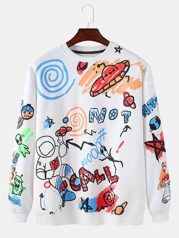 Cotton Cartoon Galaxy Art Print Sweatshirts