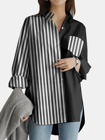 Striped Patchwork Pocket Casual Blouse