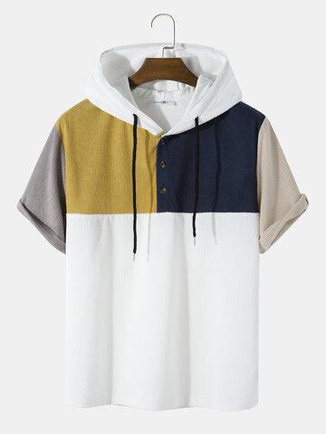 マルチカラーコーデュロイフード付きTシャツ