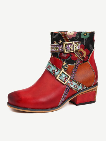 Folkways Embossed Leather Cozy Short Boots