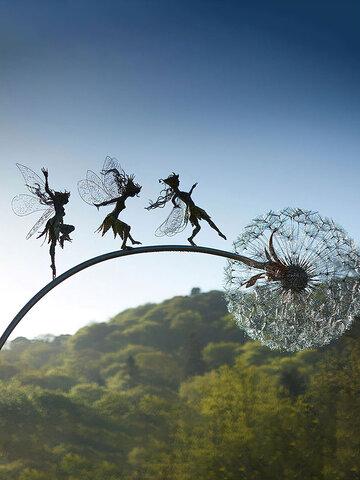 1PC Flower Fairy Elf Naughty Spirits Dancing Perfect Wonderland Silhouette Metal Lawn Landscape Sculpture Garden Decoration
