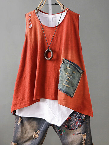 Two Face Color Sleeveless T-Shirt