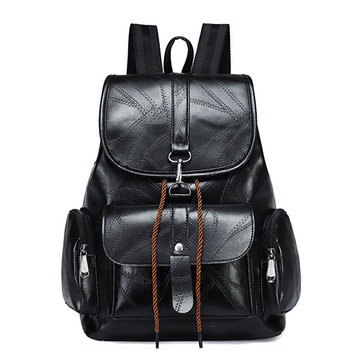 Women Solid PU Leather Casual Backpack Travel Shoulder Bag