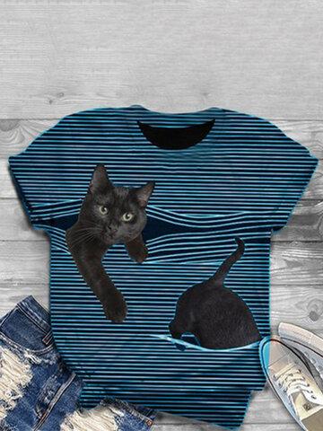 3DキャットプリントTシャツ