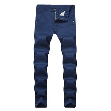 Mens Breathable Fold Holes Cotton Slim Casual Jeans