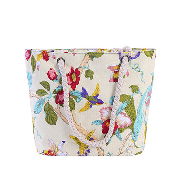 Women Canvas Flower Print Handbag Shoulder Bag