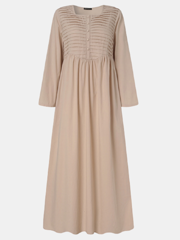 Solid Pleated Button Casual Long Dress