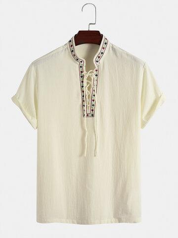 Embroidered Trim Bandage Henley Shirts