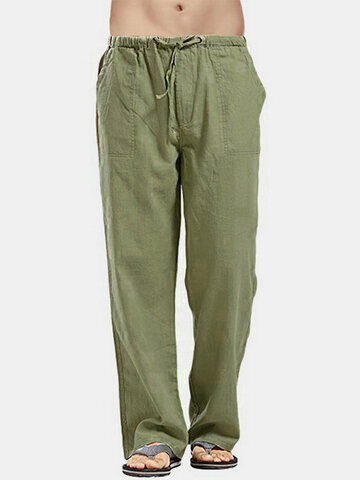 Solid Color Drawstring Straight Pants