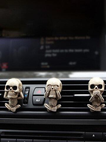 3 قطعة مجموعة الإبداعية الراتنج هالوين العظام الجمجمة الهيكل العظمي الناشر سيارة تنفيس كليب الهواء المعطر سيارة زخرفة محظوظ
