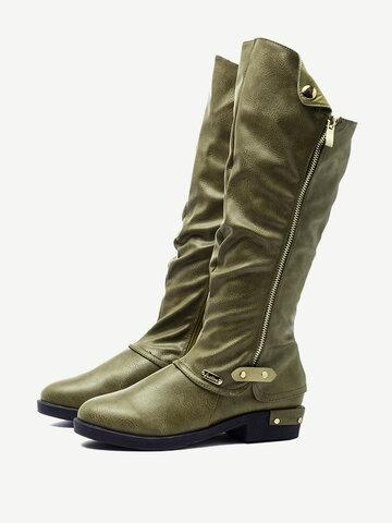 Retro Knee Length Chunky Heel Boots