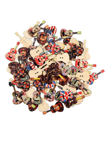 35mm 100Pcs Mixed Wood Buttons