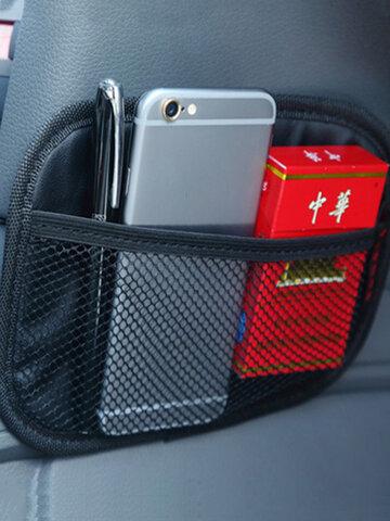 Multifunctional Vehicle Mobile Phone Storage Net Pocket Sticky Car Seat Back Portable Car Storage Bag