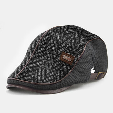 Men Knit Leather Line Patchwork Color Casual Beret Hat