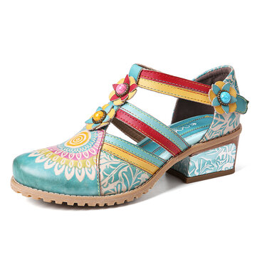 Retro Bohemia Ethnic Style Stitching Embossed Beading Floral Chunky Heel Sandals