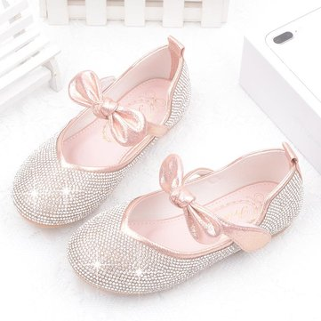 Girls Bling Princess Bowknot Flat Shoes