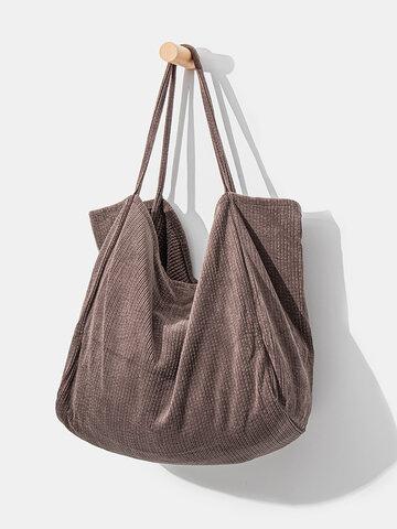 Coduroy Patchwork Large Capacity Tote Handbag