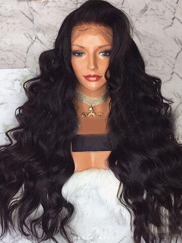 मध्य स्कोर काले लंबे घुंघराले बाल