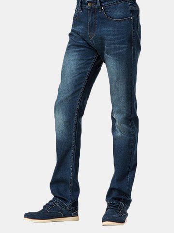 Business Casual Leg Straight Slim Mid Rise Comfortable Fabric Jeans for Men