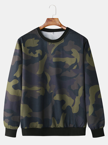 Cotton Camouflage Printed Pullover Sports Hoodie