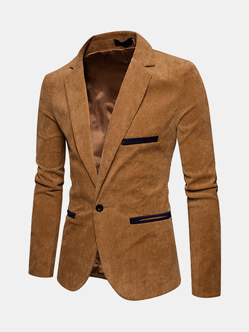 Business Slim Vintage Corduroy Suit