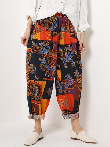 Ethnic Print Elastic Waist Harem Pants