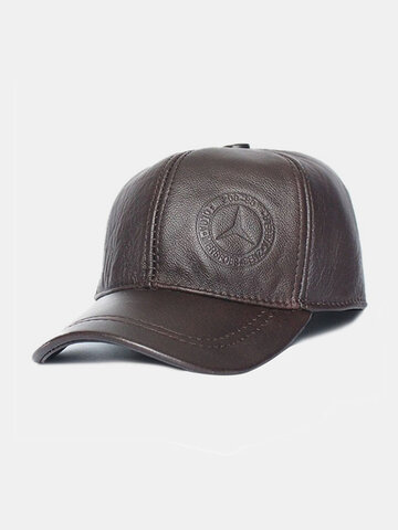 Men Genuine Leather Solid Color Ear Protected Plus Thick Casual Baseball Hat