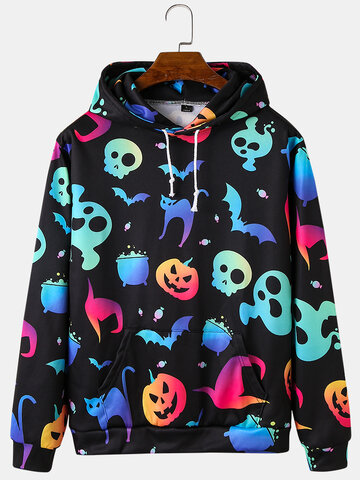 Funny Luminous Skull Print Hoodies