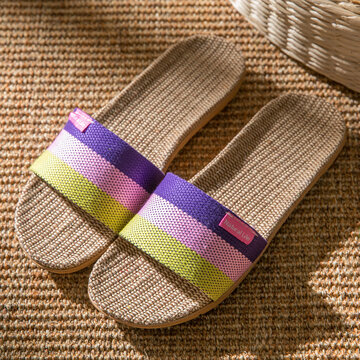 Stitching Color Stripes Slippers