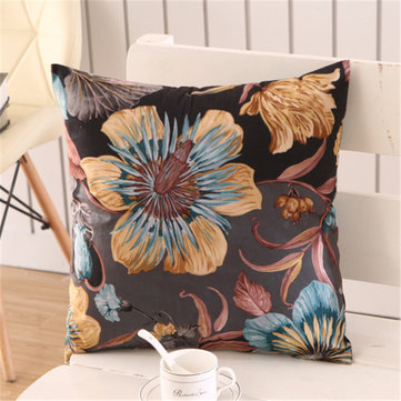 Flower Printed Colorful Plush Cushion Cover