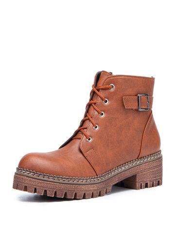 Casual Zipper Lace Up Short Boots