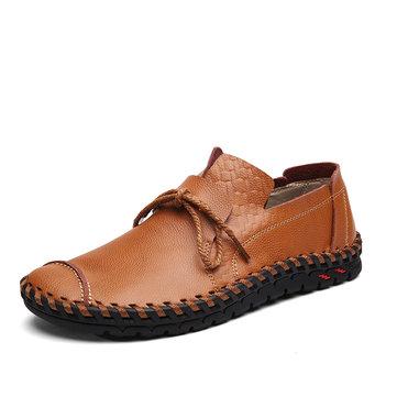 Hommes Chaussures Souples Uniques Cuir En Couture Décoration De Lacet Mocassin Décontracté Pour Conduire