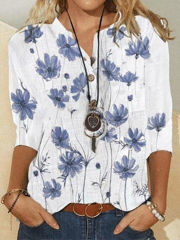 Flower Print Button Blouse