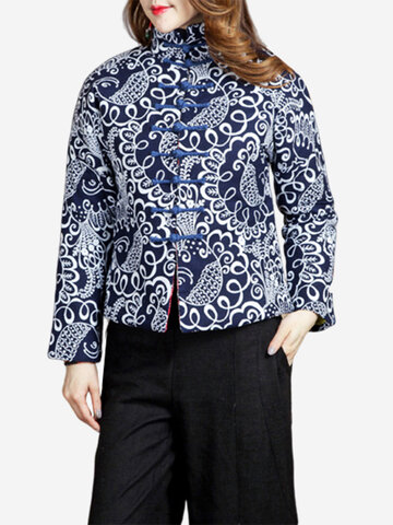 Ethnic Printed Vintage Thicken Coats, Blue