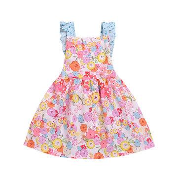 floral dress flying sleeves backless children's skirt